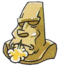 Moai actually have fat little bodies, but most people probably don't know this anyway.